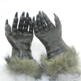Wholesale Scary Devil Mask - Halloween Horror Devil Masks Silicone Rubber Masks Party Halloween Gloves Wolf Mask Wolf Gloves Halloween Scary Horror Masks