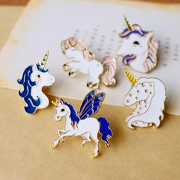 Wholesale Horse Brooches - 5 loaded Fairy tale unicorn white horse series brooches needle button pin pinch fairy metal brooch pin girl children jeans accessories gift