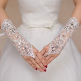Wholesale Glove For Wedding - 2017 Luxury Short Lace Bride Bridal Gloves Wedding Gloves Crystals Wedding Accessories Lace Gloves for Brides Fingerless Below Elbow Length