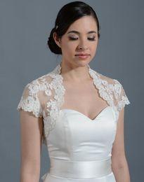 Wholesale Lace Jacket Bolero Coat - 2018 Vintage Bolero Bridal Wraps and Jackets Lace Appliques Short Sleeves Wedding Mini Coat Free Shipping