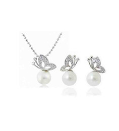 Wholesale Wholesale Pearl Necklace Butterfly Earrings - Pearl Jewelry Sets Wholesale Fashion Pearl Earrings Necklace Set of Butterfly Decorations Student Gift 1290