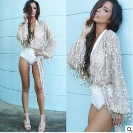 Wholesale Sequin Neck Ties - GC2 HOT Womens Lantern Sleeve Sequin Mesh Self Tie Open Front Cardigan Wrap Cropped Jacket Coat hight quality free shipping