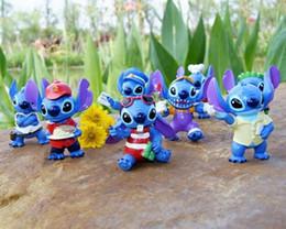 Wholesale Stitch Blue - 8pcs Lilo & Stitch 6cm Blue PVC Anime Cartoon Action Figure Toy Mini Dolls Baby Toys Gifts Free Shipping