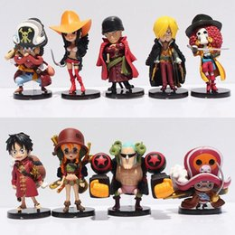 Wholesale Robin Action Figures - 9pca lot Anime Figures One Piece Luffy Zoro Chopper Franky Usopp Robin Nami Action Figure Model Toys Dolls