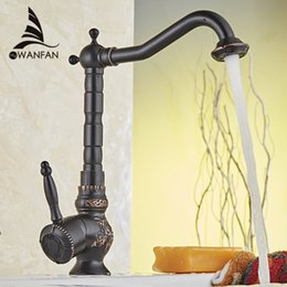 Wholesale Basin Mixer Faucet Accessories - Home Improvement Accessories Black Brass Kitchen Faucet Swivel Bathroom Basin Sink Mixer Tap Crane Cold And Hot Water 10701H