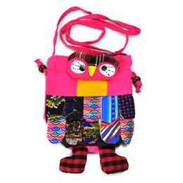 Wholesale Plum Owl - National Wind Animal Cloth Bag Coin Purse Drawstring Cute Cartoon Owl Crossbody Bags Casual Girls Women Pretty Mini Handbags