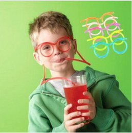 Wholesale Funny Drinking Glasses - Hot! Funny Soft Glasses Straw Unique Flexible Drinking Tube Kids Party Accessories Colorful Plastic Drinking Straws