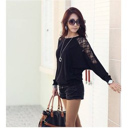 Wholesale Loose Shirts For Women - 2016 New Fashion Women's T-Shirts Blouse Batwing long Sleeves Loose Tops o-neck T-shirt Cotton Lace for summer aurtumn
