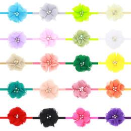 Wholesale Hair Headband 5cm - Baby Headbands Flower 5cm Rhinestone Chiffon Head bands Kids Girls Elastic Headwear Children Hair Accessories Headdress 20 Colors KHA76