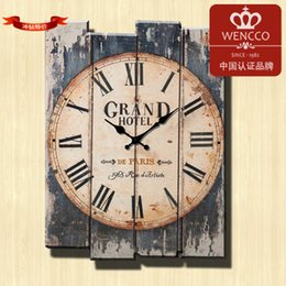 Wholesale Rustic Antique Decor - Free Shipping 30*40CM Modern Designed Craft Retro Vintage Rustic Wall Clock Shabby Chic Home Coffee Shop Bar Decor(24pcs lot)