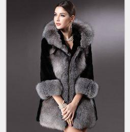 Wholesale Ladies Fur Coat Fox Collar - DHL Free Shipping Winter Women Plus Size Faux Fur Coat Fashion Long Jackets Wholesale Silver Fox Fur Coat Ladies Outwear For Women