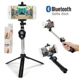 Wholesale Iphone Controller Bluetooth - Fashion Foldable Selfie Stick Self Bluetooth Selfie Stick Tripod Bluetooth Shutter Remote Controller for iPhone samsung with reatil box