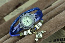 Wholesale Wholesale Wrap Around Watches - DHL UPS Fed free shipping Popular Vintage Weave Wrap Around Charm Bead Leather Bracelet Quartz Wrist Watch 60 Styles