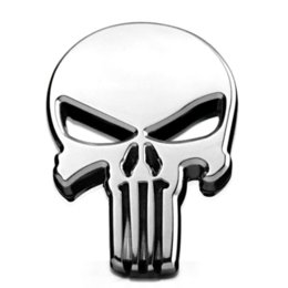 Wholesale Vinyl Car Tops - 6x4.3cm Top Quality The Punisher Skull Head Solid Zinc Alloy Chrome Metal Car Styling Emblem 3D Sticker Cool Scary Exterior Mark