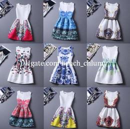 Wholesale Cap Vest - Plus Size Women Printed Sleeveless Vest Dress 20 colors Vintage O-neck Vestido De Festa Women Summer Sexy Boho travel bohemian beach Dresses
