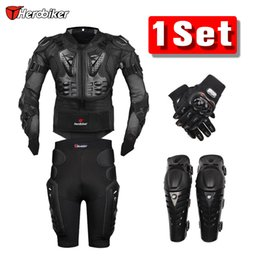 Wholesale Motorcross Racing Jacket - New Moto Motorcross Racing Motorcycle Body Armor Protective Jacket +Gears Short Pants +Protective Motorcycle Knee Pad +Gloves