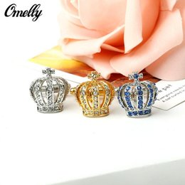 Wholesale Cheap Cufflinks Wholesale - Luxury Crown 18K Gold Plated Crystal Cuff Links Best Man Design Cufflinks Wholesale in Bulk Cheap 3 Colors