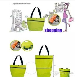 Wholesale Grocery Shopping Trolley - 100Pcs Portable folding roller shopping bag trolley tug hand reusable storage Shopping Bag On Wheels Rolling Grocery Tote Handbag 7 color