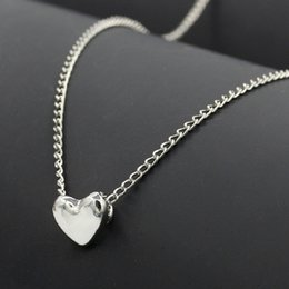 Wholesale Tiny Gold Pendants - Women necklace Jewelry Stainless Steel Chain Necklace silver Gold Color Dainty Tiny Heart Shaped Necklaces Pendants