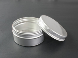 Wholesale Cream Can Lid - 60g Aluminium Cosmetic Jar Metal Cream Jars with screw lid Silver tin container bottle can empty box