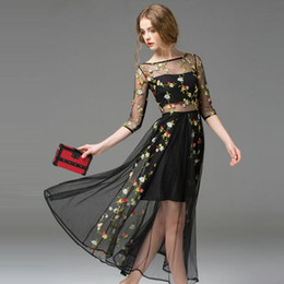 Wholesale Vintage Lace Prom Dresses Wholesale - 2016 European New Brands Women Lace Evening Dress Morning Glory Large Swing Embroideryper Lace Long Dresses Party Prom Wedding Evening Dress