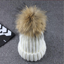 Wholesale Knitted Mink - Wholesale Real Mink Fur Knitted Ball Beanies Winter For Women Girl 'S Wool Hat Cotton Thick Female Cap
