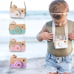 Wholesale Wholesale Wood Home Decor - Wholesale- Wooden Camera Cam Cameras Toy Children's Travel Home Decor Gifts For Kids White Green Pink Purple