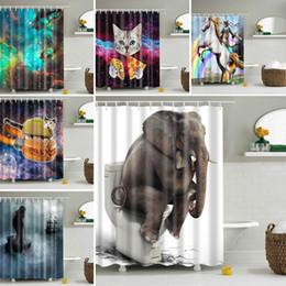 Wholesale Polyester Shower - 165*180cm Shower Curtains Halloween Pumpkin Mermaid Elephant Waterproof Bathroom Shower Curtain Decoration With Hooks Free DHL WX9-134
