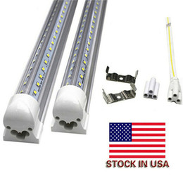 Wholesale Usa Leds - 4ft 5ft 6ft 8ft LED Lights V-Shaped Integrated LED Tube Light Fixtures 4 Row LEDs SMD2835 LED Lights 100LM W Stock in USA