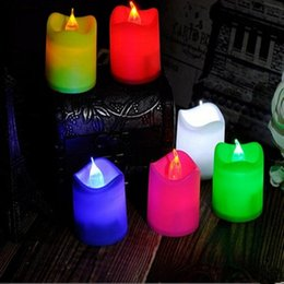 Wholesale Romantic Flameless Candles - LED Candle Lamp Wave Mouth Simulation Electronic Candles Colorful Light Romantic Propose Wedding Celebration Props 0 6ll F R