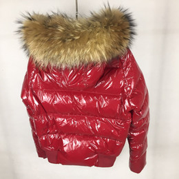 Wholesale Orange Coat Fur Collar - Luxury Brand M Women Jacket Short thickening Warm Down Coat Thickening Female Clothes Real Raccoon Fur Collar Hood Down Jacket