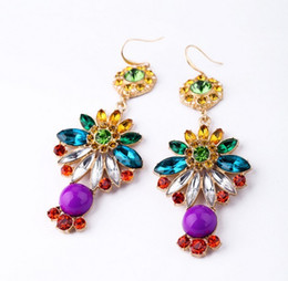 Wholesale Earring Acrylic Dangle - Multicolor Crystal Flower Big Earrings Luxury Women Long Statement Earrings Beautifull Arcylic Dangle Wholesale 2016 New Jewelry