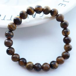 Wholesale Tiger Eye Jewelry For Men - 8MM Tiger Eye Bead Bracelets & Bangles Trendy Natural Stone Bracelet For Women Famous Brand Men Jewelry