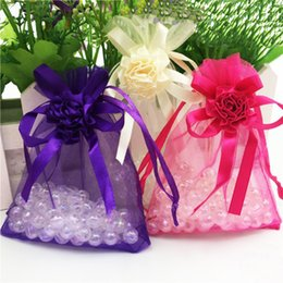 Wholesale Hot Favor Jewelry - 50pcs Flower Drawable Hot Pink Small Organza Bags 9x12 cm Favor Wedding Gift Packing Bags,Packaging Jewelry Pouches H2099