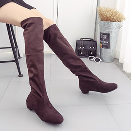 Wholesale Designer High Low - Over the knee boots woman suede leather boot low heels round toe slim bootas thigh-high bootas plus size 34-43 Brand designer bootas 204