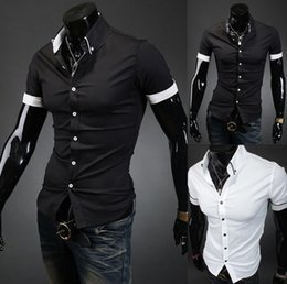 Wholesale Xl Slim Fit Garments - 2015 summer fashion casual men's slim fit shirts short sleeves POLO shirts man men tops upper garments clothing shirt clothes