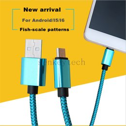 Wholesale Fishing Line Brands - Fashional Cell Phone USB Cable Cords 1M 3FT Unbroken Metal Connector Fabric Nylon Braid Micro USB Cable V8 Line With Fish-scable Patterns