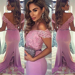 Wholesale Lavender Mermaid Bridesmaid Dresses - Off Shoulder Lavender Beaded Lace Mermaid Bridesmaids Dresses 2017 Sexy Draped Satin Backless Wedding Guest Party Dress Maid of Honor Gowns