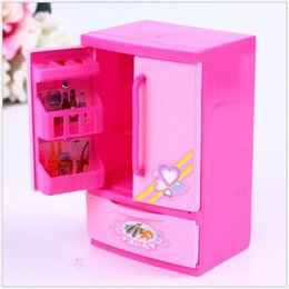 Wholesale Pink Girls Play Kitchen - Wholesale- Refrigerator Toys Children Plastic Pretend Role Play Refrigerator Educational Toy Girls Classic Kitchen Toys Christmas gifts