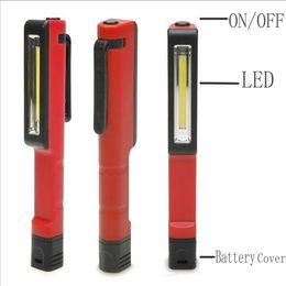 Wholesale Led Clip Flashlight - Wholesale-Bright Mini LED Inspection Light Lamp Pen Shape Pocket Clip Work Hand Torch Flashlight