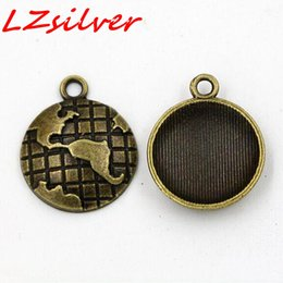 Wholesale Map Pendant Wholesaler - MIC 100pcs Antiqued Bronze Tone Retro Style Alloy Earth Map Globe Charm Pendant 15*15 mm DIY Jewelry