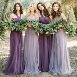 Vestidos convertibles más tamaño online-2019 púrpura tul convertible vestidos de dama de honor baratos cariño sin espalda vestidos de noche más tamaño formal de la boda vestidos de invitados