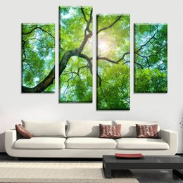 Wholesale Green Trees Wall Canvas - Bedoom Decor Green Leaves Tree Landscape HD Picture Art Print Painting On Canvas For Living Room Wall Decor (Frameless)