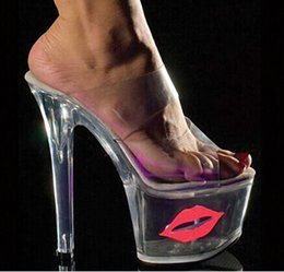 Wholesale Exotic Heels - 2016 Sexy Crystal Shoes 17cm Ultra High Heels Exotic Dancer Red Lips Platform Slippers Night Club 7 Inch High Heels Fetish Pvc