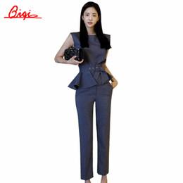 Wholesale Business Suit Women Fashion - Wholesale-Qiqi New 2016 Autumn Fashion Women's Business OL Office Work Pants Suits Stripe plus size Ruffles Suits For Women 2 Pieces Set