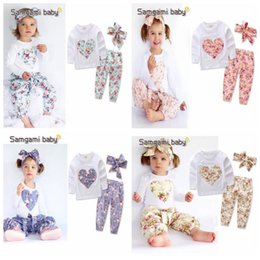 Wholesale Girls Summer Heart T Shirt - 3pcs set INS Baby Girl Heart-shaped Flower Suits Infant Floral Casual Long Sleeve T-shirt +trousers+Hair band Clothing Sets CCA7209 120set