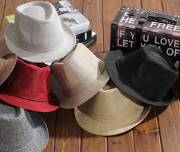 Wholesale crown derby - Hot Selling Unisex Caps Men Women Casual Fedora Hat Pinched Crown Beach Sun Cap Panama Hat Unisex Top Quality Chapeu Feminino