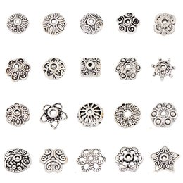 Wholesale Spacer Flat - DIY mixed model 1#--20# Vintage Tibet silver Floral End safe Alloy spacer Beads Caps jewelry accessories 500pcs lots