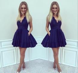2019 Barato Royal Blue Lace Homecoming Dress A-line Juniors 15 Graduación Cocktail Party Dress Plus Size por encargo desde fabricantes