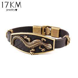 Wholesale Lizard Charms - Wholesale-17KM Classic Animal Lizard Leather Charm Bracelet & Bangles Alloy Hook Men Bracelets Fashion Jewelry Brown Colors